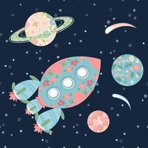 Nomi's Rocket & Planets - navy background