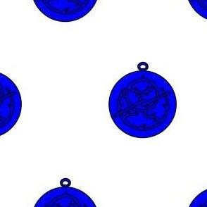Argent, an astrolabe azure