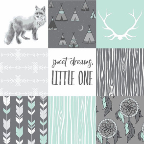 Southwest Fox Sweet Dreams - Mint and grey - Wholecloth Quilt - Dreamcatchers and Teepees