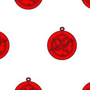 Argent, an astrolabe gules