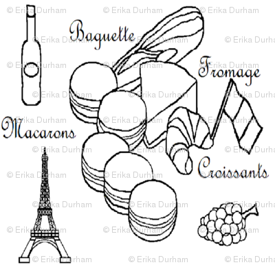 French Foods Black _ White