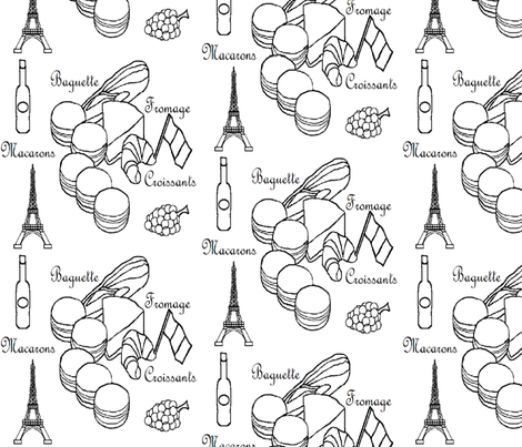 French Foods Black _ White fabric by hobbitrosie on Spoonflower - custom fabric