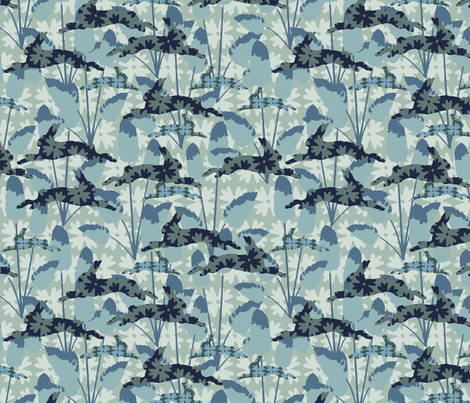 Bunnytails BLUEGREEN fabric by kathyjuriss on Spoonflower - custom fabric