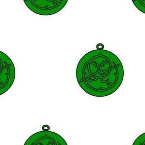 Argent, an astrolabe vert