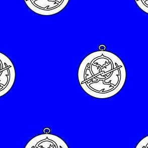 Azure, an astrolabe argent