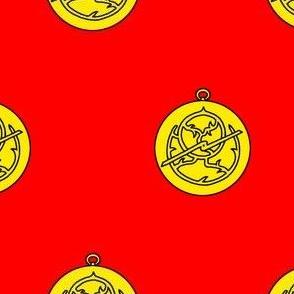 Gules, an astrolabe Or