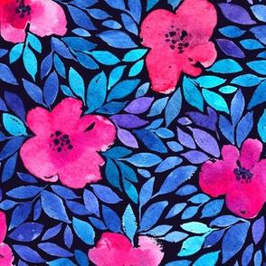 Watercolor flowers on dark
