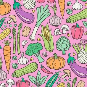 Vegetables Food Doodle on Pink Smaller