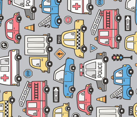 Cars Vehicles Doodle fabric Blue Red Yellow on Grey Larger Rotated fabric by caja_design on Spoonflower - custom fabric