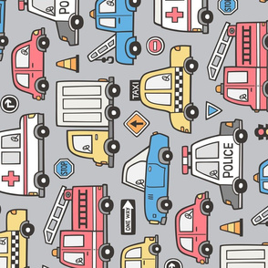 Cars Vehicles Doodle fabric Blue Red Yellow on Grey Larger Rotated