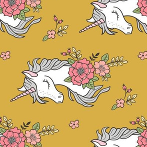 Dreamy Unicorn & Vintage Boho Flowers on Yellow Mustard Rotated