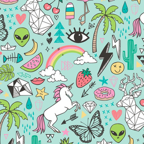 Summer Doodle Geometric Triangle Deer & Unicorn Rainbow Cactus Flamingo Pineapple on Mint Green Large