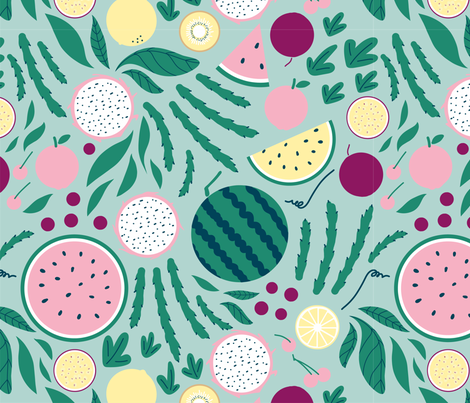 Round Fruits party fabric by lumeme on Spoonflower - custom fabric