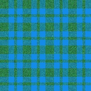 CD9 - Clear Azure Blue and Speckled Green Tartan Plaid