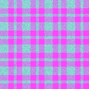 CD10 - Aqua Sparkle and Violet Pink Plaid