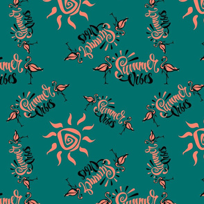 Flamingo. Summer viber. Lettering. Stylish summer print. Tropical.