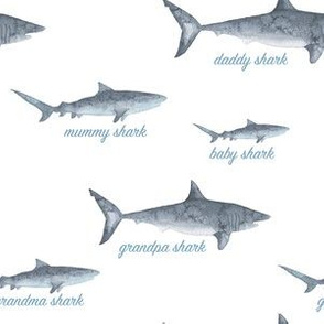 Baby shark watercolour typography