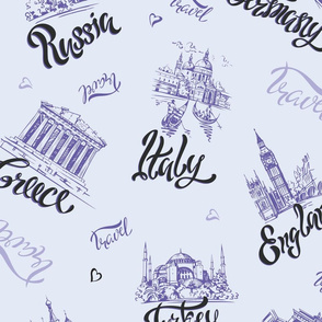 Countries and cities. Lettering. Sketches. Landmarks.  Travel. Russia, Greece, Turkey, Italy, Germany.