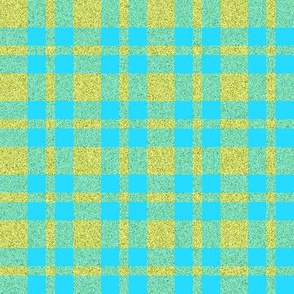 CD11 - Turquoise and Speckled Yellow-Green Tartan Plaid