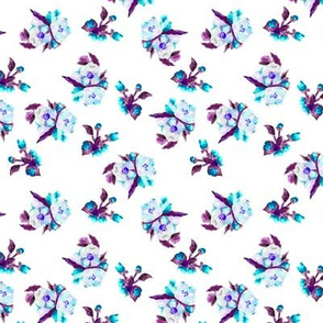 Watercolor floral in blue and purple