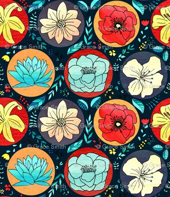 Cheerful Polka Dot Floral On Navy -Big