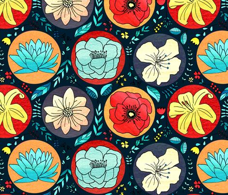 Cheerful Polka Dot Floral On Navy -Big fabric by tigatiga on Spoonflower - custom fabric