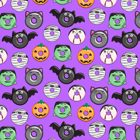"(1"" scale) halloween donut medley - purple - monsters pumpkin frankenstein black cat Dracula C18BS  fabric by littlearrowdesign on Spoonflower - custom fabric"