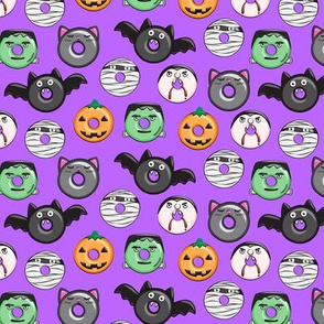 "(1"" scale) halloween donut medley - purple - monsters pumpkin frankenstein black cat Dracula C18BS"