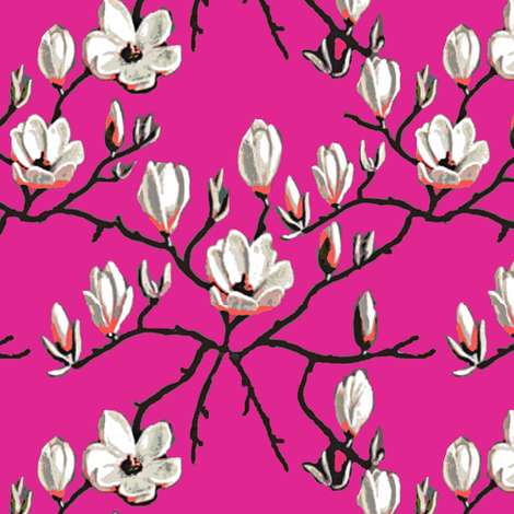 Magnolia flower// hot pink Floral fabric by magentarosedesigns on Spoonflower - custom fabric