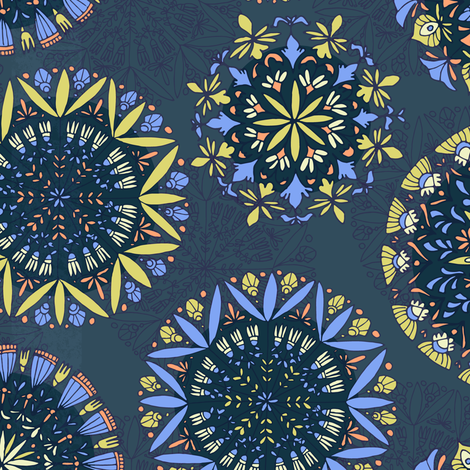 Flowers go round  fabric by lilalunis on Spoonflower - custom fabric