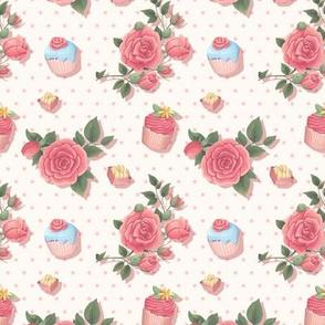 50s Pink Cupcake Florals