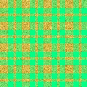 CD14 - Speckled Gold and Pastel Green Tartan Plaid