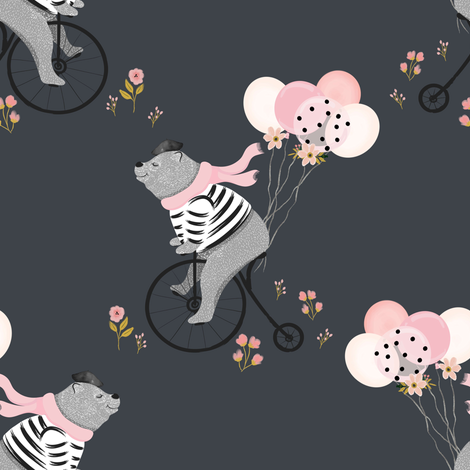 "8"" Bonjour Charlie The Bear - Mix and Match Grey fabric by shopcabin on Spoonflower - custom fabric"