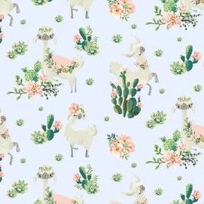 """4"""" Cactus Floral Llama - Blue"""