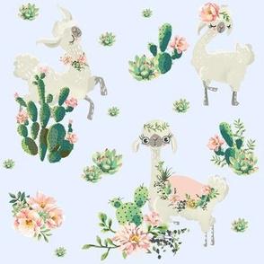 """8"""" Cactus Floral Llama - Blue"""