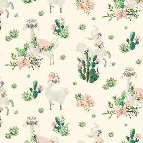 "4"" Cactus Floral Llama - Ivory"