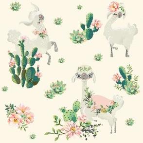 "8"" Cactus Floral Llama - Ivory"