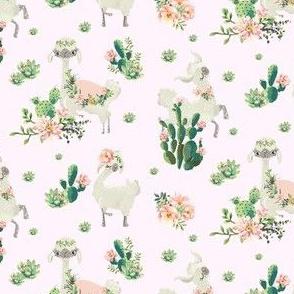 "4"" Cactus Floral Llama - Pink"