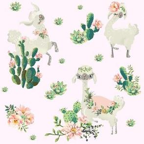 "8"" Cactus Floral Llama - Pink"