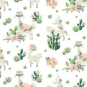"""4"""" Cactus Floral Llama - White"""