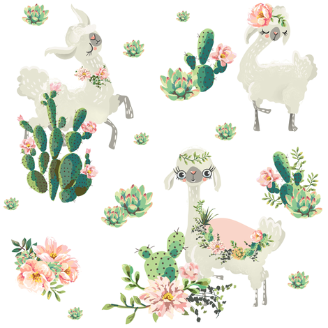"8"" Cactus Floral Llama - White fabric by shopcabin on Spoonflower - custom fabric"