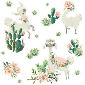 """8"""" Cactus Floral Llama - White"""
