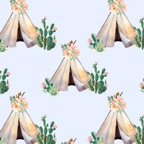 "4"" Cactus Floral Teepee - Blue"