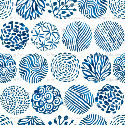Watercolor circles of Nature. Blue indigo colors.