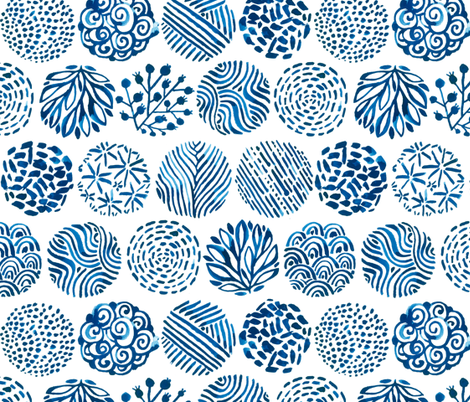 Watercolor circles of Nature. Blue indigo colors. fabric by kostolom3000 on Spoonflower - custom fabric