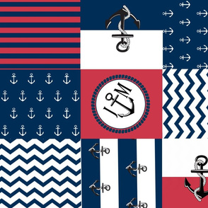 Anchor Center Quilt 21 wholecloth -red white blue PERSONALIZED- JM