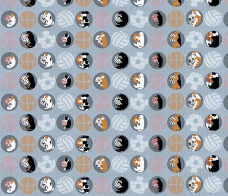 Sports Dogs favorite round things - slate fabric by rusticcorgi on Spoonflower - custom fabric