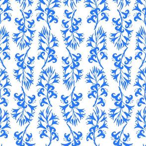 Minoan Lilies Kaua'i Blue on White 150