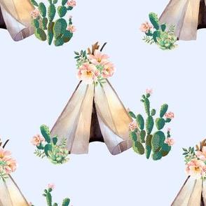 "8"" Cactus Floral Teepee - Blue"