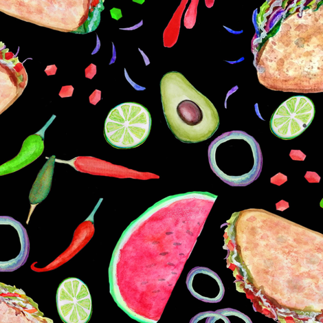 Taco Party // Mexican Fiesta // painted in watercolor fabric by magentarosedesigns on Spoonflower - custom fabric